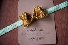 Patty Bow in Gold Glitter On Mint Elastic by hopscotchboutique, $10.00 Hopscotch, Gold Glitter, Mint, Bows, Boutique, Trending Outfits, Unique Jewelry, Handmade Gifts, Accessories
