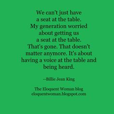 The Eloquent Woman's weekly speaker toolkit Famous Speeches, Womans Weekly, Public Speaking Tips, Billie Jean King, My Generation, Business Professional, Woman Quotes, Great Quotes, No Worries