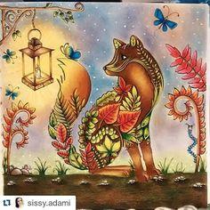 Incrível esse fundo da raposa do livro Floresta Encantada de @sissy.adami Use #desenhoscolorir para ver seus desenhos aqui. #florestaencantada #florestaencantadatop #secretgarden #enchantedforest #jardimsecretoinspire #jardimsecretotop #mundodaspinturas #jardimsecreto