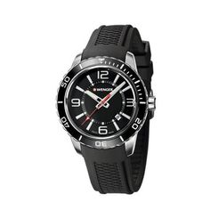 Wenger - Watches - Large Black Dial, Black Silicone Strap