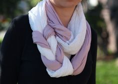 Braided Infinity Scarf in Pink and Textured White