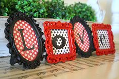 Dollar Store frames, spray painted with scrapbook paper and letters for any holiday! by A Diamond in the Stuff: Framed {Love} Letters