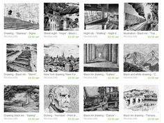 NicolasJolly Fingerprint drawings - Black ink drawings - Watercolors