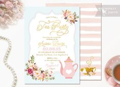 Tea Party Baby Shower Invitation  Tea Party  by WisemonkeyPaperie