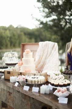 Vintage Dessert Table with Cupcakes, Cake pops, and French Macarons #wedding