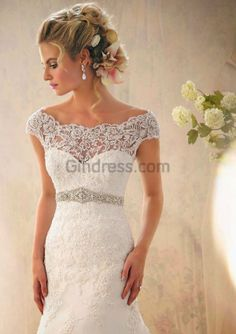 Nice Shoulder hugging lace sweetheart top fitted body with embellished belt I really the top of this dress