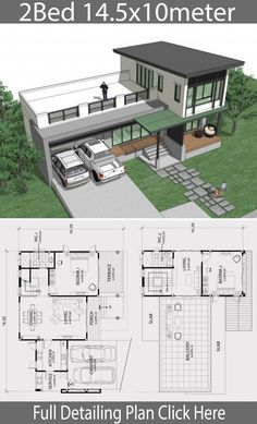 Home design plan 14 with 2 bedroom is part of Home Design Plan Xm With Bedroom Home Ideas - Home design plan 14 with 2 bedroom Twostory house Modern Contemporary style High window door design And simple lines Looks comfortable Duplex House Plans, Modern House Plans, Small House Plans, House Floor Plans, Small House Design, Modern House Design, Espace Design, Casa Patio, Building A Container Home