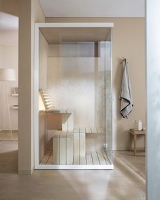 The Inipi Sauna is a compact solution to saving space in the bathroom, without sacrificing any of the comforts that a sauna can offer. The ingenious design of the Inipi Sauna means it can fit into almost any room, while still offering plenty of space i Design Sauna, Modern Saunas, Indoor Sauna, Sauna Room, Interior Minimalista, Steam Room, Duravit, Higher Design, Changing Tables