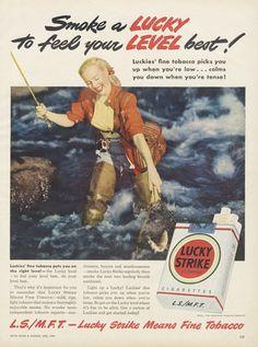 1949 Lucky Strike Cigarettes Ad Woman Fisherman by AdVintageCom