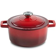 VonShef Litre Enamel Coated Round Cast Iron Casserole Dish – Graduated Red Naturally Non-Stick, Stain & Odour Resistant Cast Iron Casserole Dish, Home Additions, Cooker, It Cast, Dining, Enamel, Red, Amazon