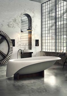 #KBHome Interesting industrial/steampunk/modern bathroom. Is that a giant gear on the left?