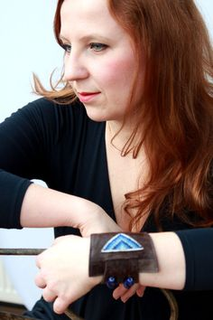 Leather bracelet, women's leather and hand embroidery wrist cuff bracelet blue, hand cuff. £39.00, via Etsy.