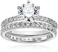 Platinum-Plated Sterling Silver Swarovski Zirconia Ring Set ---> READ REVIEW @: http://www.passion-4fashion.com/jewelry/platinum-plated-sterling-silver-swarovski-zirconia-ring-set/