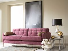 Chic living room, living room design, purple living room, purple sofa, Genevieve with Zig Zag Living Room