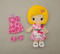 Felt Doll- I love the Hello Kitty outfit.