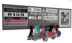 Medal hanger - Be strong and courageous for your work will be rewarded.- 2 Chronicles 15:7 bible verse $49.99  HUGE! 2 foot long medal holder for #avid runner!