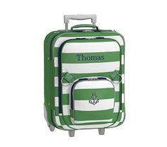 Small Luggage, Fairfax Stripe Green/White with Navy Trim Anchor