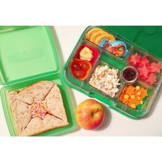 Yumbox is designed to provide a filling lunch for a child up to the age of 8.  Past this it can still be used as a great snack box or to supplement a lunch.  @lila_n_jacks Jackson's lunch for school today; a jam sandwich, crackers & cheese pod, watermelon, banana chips & grapes, popcorn, sultanas, carrots & corn kernels. An apple for morning tea ⭐️ #jacksonslunchbox #bento #funwithfood #creativefood #healthykids #bentobox #foodforkids #yumbox