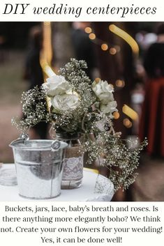 Boho, barn, DIY, budget-friendly - none of those need to lack elegance with this amazing centerpiece inspiration! Don't be afraid to use the most simple of flowers and baby's breath with various buckets, jars, bottles and vases. Lace and twine will add just the right touch of bridal feels without feeling stuffy or ordinary. From barn to backyard, huge event space to local eatery, make your space uniquely yours without breaking the wedding budget. Bride And Groom Presents, Present For Groom, Diy Wedding On A Budget, Baby On A Budget, Wedding Ideas, Wedding Decor, Wedding Photos, Wedding Cake Pops, Wedding Table Linens