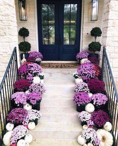 Dreamy Ideas For Decorating Your Front Porch For Fall - Porch Decorating Fall Home Decor, Autumn Home, Holiday Decor, Purple Mums, Purple Flowers, Decoration Entree, Decks And Porches, Front Door Decor, Entryway Decor