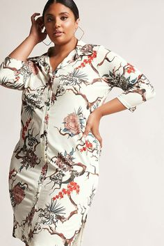 Product Name:Plus Size Pink Clove Shirt Dress, Category:CLEARANCE_ZERO, Price:35