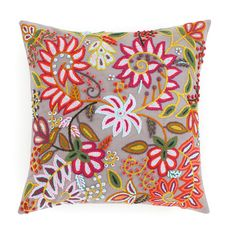 A Peruvian textile served as the inspiration for this splashy linen pillow. Featuring hand-embroidery in soft acrylic with a cotton back. Perfect for bright or eclectic decorating styles.