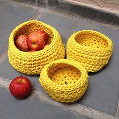 Trapillo | Combo de cestos amarelos | 3 tamanhos - ManüMonuMei