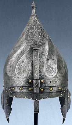 ARMOR: Ottoman steel turban helmet, with Saint-Irene Arsenal mark, The Museum of Islamic Art, Qatar. Arm Armor, Body Armor, Ancient Armor, Art Chinois, Medieval Weapons, Ottoman Empire, Military History, Headgear, Islamic Art