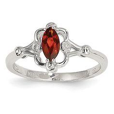 14k White Gold Garnet Diamond Ring