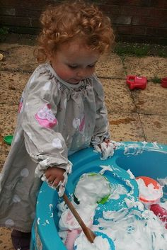 Shaving cream and food colour. Amazing for texture, imagination and sensory.