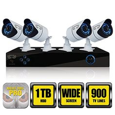 Night Owl Security X9-84-1TB 8 CH Video Security System with a 1TB HDD, 4 Hi-Res 900 TVL Cameras (White)  Night Owl's cutting edge X9-84-1TB is a 960H complete security solution with a 1TB pre-installed hard drive, 4 hi-resolution 900 TVL cameras with 70 Degree wide angle viewing and remote playback. Utilizing the included 6 ft. HDMI cable, view or playback footage seeing every detail clearer than ever! With this TRUE 960H DVR, now you can enlarge your images on a wide screen televis..