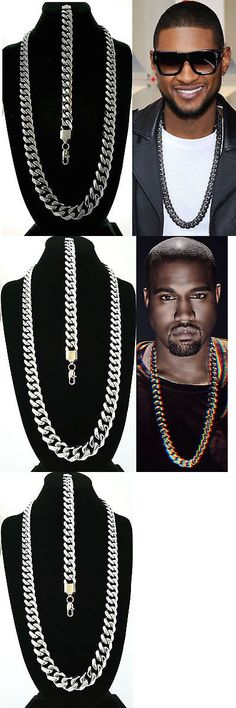 Chains Necklaces and Pendants 137839: Mens 15Mm Black Gold Stainless Steel Miami Cuban Chain Necklace Bracelet Set -> BUY IT NOW ONLY: $64.99 on eBay!