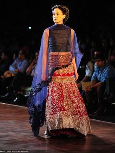 Red and black lengha by Manish Malhotra at Delhi Couture Week 2013