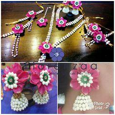 Flower Jewellery For Mehndi, Flower Jewelry, Gota Patti Jewellery, Simple Wedding Bands, Flower Ornaments, Indian Wedding Jewelry, Bridal Flowers, Flower Decorations, Handcrafted Jewelry