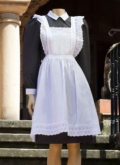 Grey maid uniform in 100% cotton available in 6 colors. Apron in 100% cotton with laces on the border. Los Encajeros
