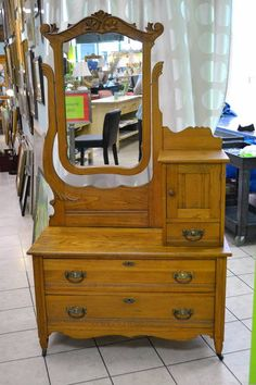 Fabulous Turn of the Century Hat Box Dresser on Casters with Barnboard Backing, Hat Cupboard, Gloves Drawers