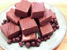 Saskatoon Berry Fudge (makes squares) cup coconut oil cup creamed honey cup cocoa powder 1 tsp vanilla extract 1 cup Saskatoon berries Saskatoon Recipes, Saskatoon Berry Recipe, Cocoa Recipes, Fudge Recipes, Dessert Recipes, Yummy Recipes, Candy Recipes, Healthy Desserts, Delicious Desserts