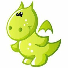 Cute Baby Green Cartoon Dragon 12 Removable Wall Decal