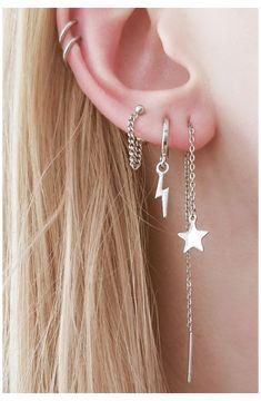 Pretty Ear Piercings, Ear Peircings, Three Ear Piercings, Ear Jewelry, Cute Jewelry, Jewlery, Diamond Jewelry, Jewelry Box, Fashion Jewelry
