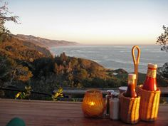 Most beautiful sunset on the West Coast.  Food, wine and view are spectacular!! Nepenthe, Big Sur.