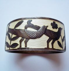 Vintage Sterling Silver Guilloche Napkin Ring from Norway - Birds, Pheasants, Flowers - Norwegian Sterling Silver Napkin Ring - Enamel