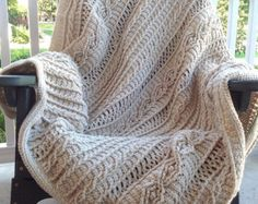 """king size chunky cable crochet blanket 