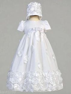 Lito Girls Christening Baptism Floral Ribbon Tulle Gown 0 3M 3 6M 6 12M 12 18M | eBay
