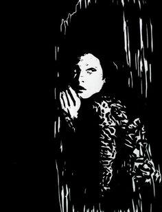 """Hidden"" linocut by Mark Rowden. http://www.wingedlionpress.com.au/ Tags: Female, Woman, Hiding, Darkness, Linocut, Cut, Print, Linoleum, Lino, Carving, Block, Woodcut, Helen Elstone."