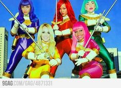 Katy Perry, Rihanna, Lady Gaga, Britney Spears, Nicki Minaj as the Female Power rangers!