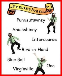 Pennsylvania holds the record for funny town names. There's Bird-in-Hand, Climax, Hazard, Jugtown, Intercourse, Noodle Doosie, Paradise, Puseyville,...