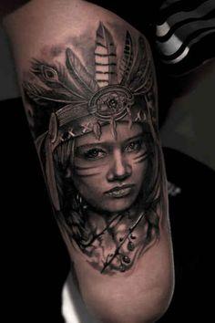 Tattoo Indian Woman Thigh  - http://tattootodesign.com/tattoo-indian-woman-thigh/  |  #Tattoo, #Tattooed, #Tattoos