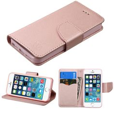 Book-Style Flip Stand Wallet iPhone 5S/SE Case - Rose Gold