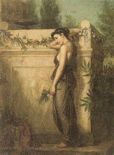 'Gone, but not Forgotten'. (1873). (by John William Waterhouse).