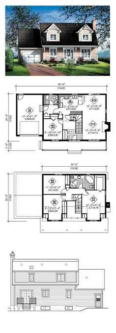 Cape Cod House: cape cod house interior, cape cod house exterior, cape cod house plans, cape cod house with garage, cape cod house remodel Garage House Plans, House Plans One Story, Best House Plans, Modern House Plans, Small House Plans, House Floor Plans, Cape Cod Bedroom, Two Bedroom House, Girls Bedroom